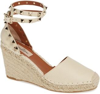 Valentino Rockstud Espadrille Wedge Sandal