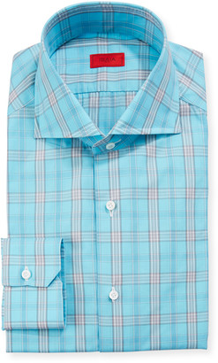 Isaia Men's Aqua Plaid Dress Shirt