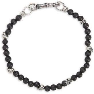 John Varvatos Mercer Sterling Silver & Lava Bead Skull Bracelet