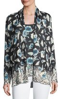 Neiman Marcus Superfine Poppy Open Cardigan