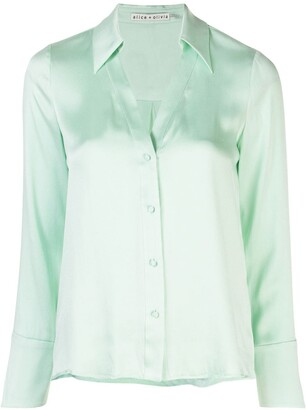 Alice + Olivia Eloise satin shirt