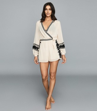 Reiss Audrina - Embroidered Resortwear Top in Nude