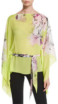 Roberto Cavalli Belted Floral Caftan/Kimono Top