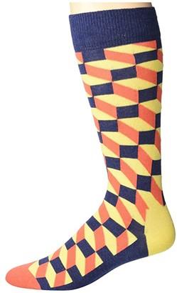 Happy Socks Filled Optic Socks (Medium Yellow) Men's Crew Cut Socks Shoes