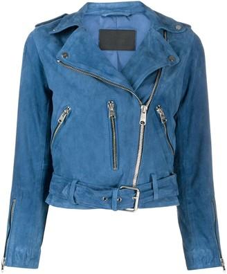 AllSaints Suede Zip-Up Biker Jacket