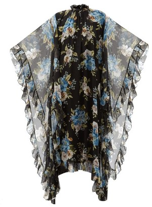 Erdem Darence Carnation-print Silk-voile Dress - Black Print