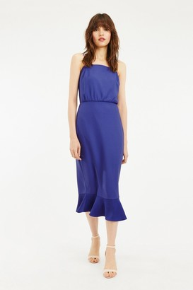Oasis Rich Blue Square Neck Satin Column Midi Dress