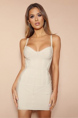 LEMONLUNAR The Maliya Beige Bandage Mini Dress