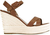 Sergio Rossi wedged sandals - women - Cotton/Calf Leather/Leather/rubber - 38.5