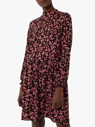 Warehouse Floral Tiered Mini Dress, Black Pattern