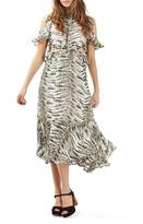 Topshop Print Ruffle Open Back Dress