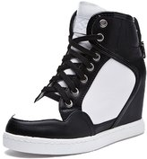 D2C Beauty Women's Round Toe Lace Up Hidden Wedge Sneakers - 7 M US