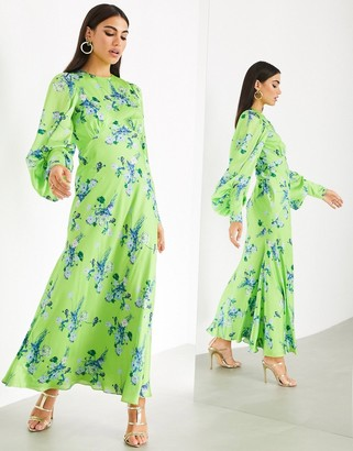 ASOS EDITION satin wild flower print maxi dress
