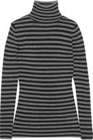 Vince Ribbed Striped Cashmere Turtleneck Sweater - Black