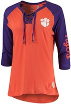 Unbranded Women's Pressbox Orange Clemson Tigers Skylar Raglan Lace-Up T-Shirt
