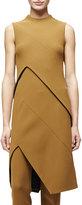 Narciso Rodriguez Sleeveless Angled-Seam Tunic Dress, Dark Sulfur
