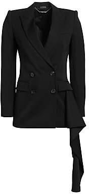 Alexander McQueen Women's Draped Double-Breasted Wool Jacket