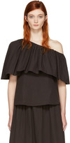 Edit Black Single-shoulder Ruffle Blouse