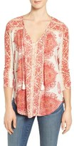 Lucky Brand Women's Placed Print V-Neck Top