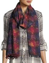Tolani Oblong Ombre Plaid Scarf w/ Pompom Edges