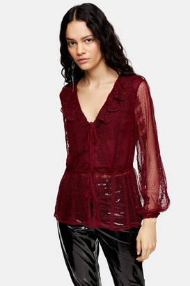 Topshop Womens Burgundy Mesh Blouse - Burgundy