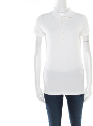 Ralph Lauren White Honeycomb Knit Pima Cotton Crest Embroidered Polo T-Shirt M
