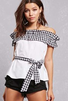 Forever 21 Gingham Ruffle Tie-Waist Top