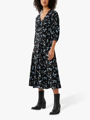 Ghost Evie Floral Midi Dress, Black/Multi