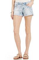 Celebrity Pink Destructed Floral-Print Frayed Hem Woven Stretch Cutoff Denim Shorts