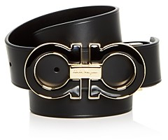 Salvatore Ferragamo Men's Enamel Double Gancini Buckle Reversible Leather Belt