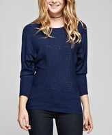 Navy Rhinestone Scoop Neck Pullover Sweater