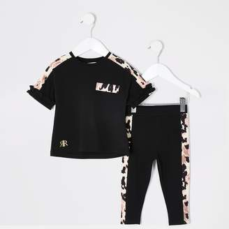 River Island Mini girls Black printed frill T-shirt outfit