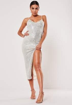 Missguided Silver Strappy Sequin Midaxi Dress