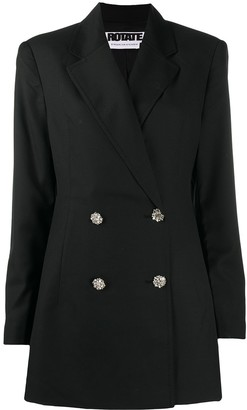 Rotate by Birger Christensen Double-Breasted Crystal-Button Blazer
