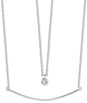 """Unwritten Cubic Zirconia Pendant & Curved Bar Layered Necklace in Sterling Silver, 16"""" + 2"""" extender"""