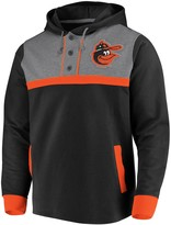 Men's Fanatics Branded Black/Heathered Gray Baltimore Orioles True Classics Button-Up Henley Pullover Hoodie