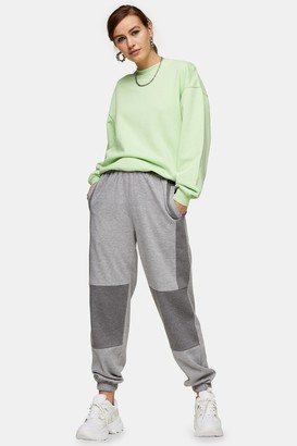 Topshop Womens Grey Contrast Panel Joggers - Grey Marl