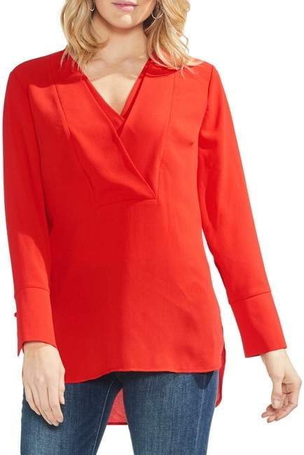 Vince Camuto Layered V-Neck Blouse (Regular & Petite)