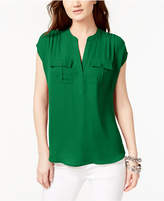 INC International Concepts I.n.c. Mixed-Media Utility Shirt, Created for Macy's