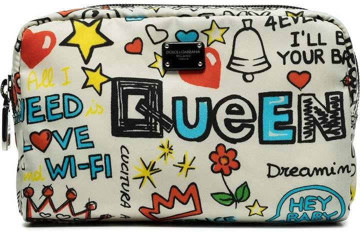 Dolce & Gabbana printed multicolour graffiti makeup pouch