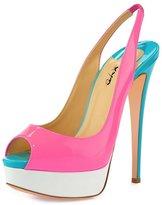 XYD Women Platform Patent Peep-Toe Slingbacks Pumps Dress Stilettos Heeled Sandals Size 8.5