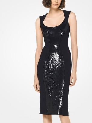 Michael Kors Sequined Stretch-Cady Sheath Dress