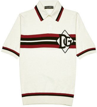 Dolce & Gabbana White knitted silk polo shirt