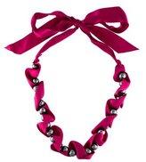 Lanvin Silk Ribbon Pearl Strand Necklace