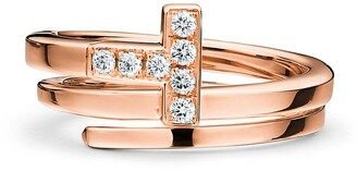 Tiffany & Co. T square wrap ring in 18ct rose gold with diamonds