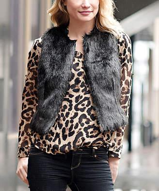 Donna Salyers' Fabulous Faux Furs Donna Salyers' Fabulous-Faux Furs Women's Outerwear Vests BLACK - Black Faux Fur & Leather Zip Vest - Women