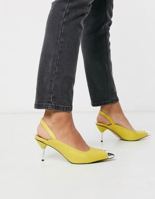 Asos Design DESIGN Sascha slingback kitten heels in lime green