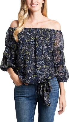 CeCe Ditsy Floral Off the Shoulder Blouse