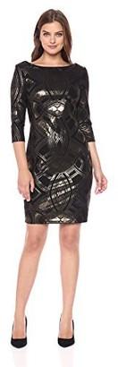 Sangria Women's 3/4 Sleeve Metallic Party Dress