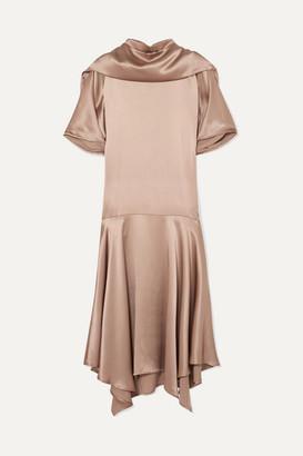 AAIZÉL + Net Sustain Convertible Asymmetric Silk-satin Midi Dress - Taupe